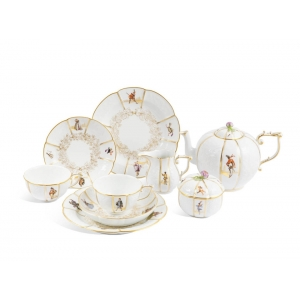 Tea set for 2 persons, Figures of Italian Comedy