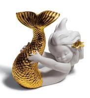 Playing at Sea Mermaid Figurine. Golden Lustre