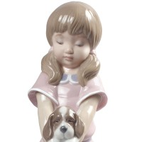 Bathing My Puppies Girl Figurine