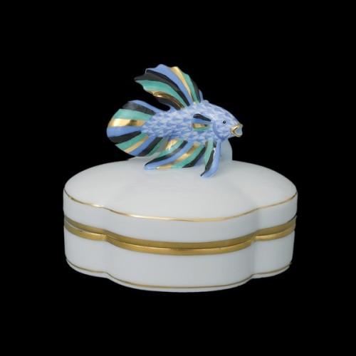 Декоративная коробочка с крышкой, ручка в виде рыбки