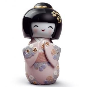 Японская кукла кокеши (розовая)