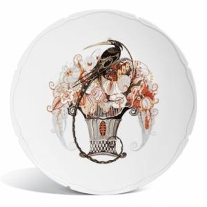 Тарелка, райская птица в цветочном горшке