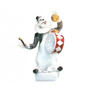 Клоун с барабаном, цветные и позолотой