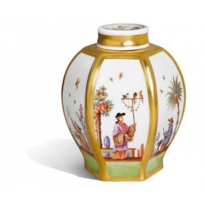 Банка для чая, роспись в стиле шинуазри по Хёролду
